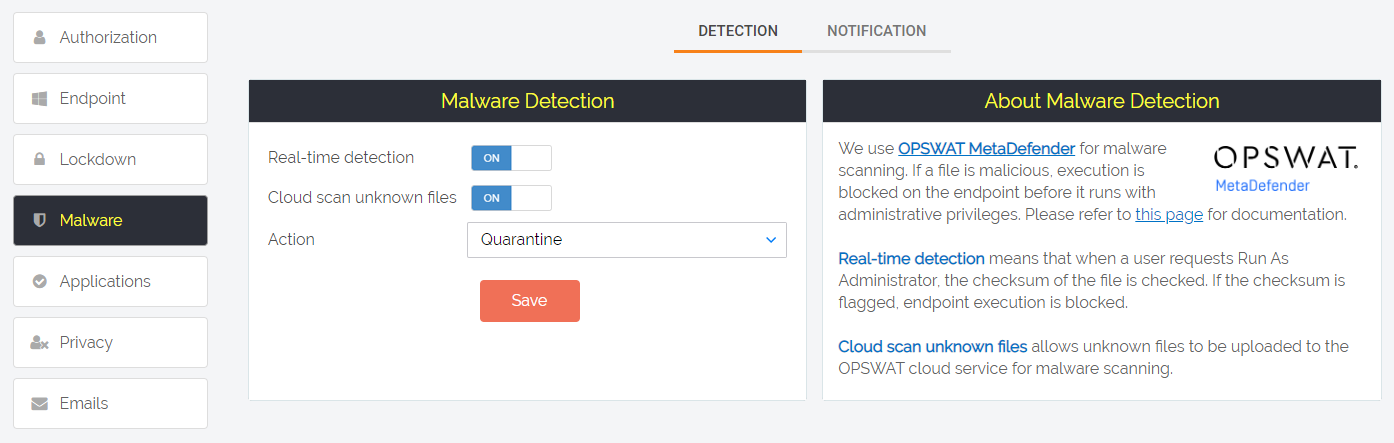 Malware detection settings